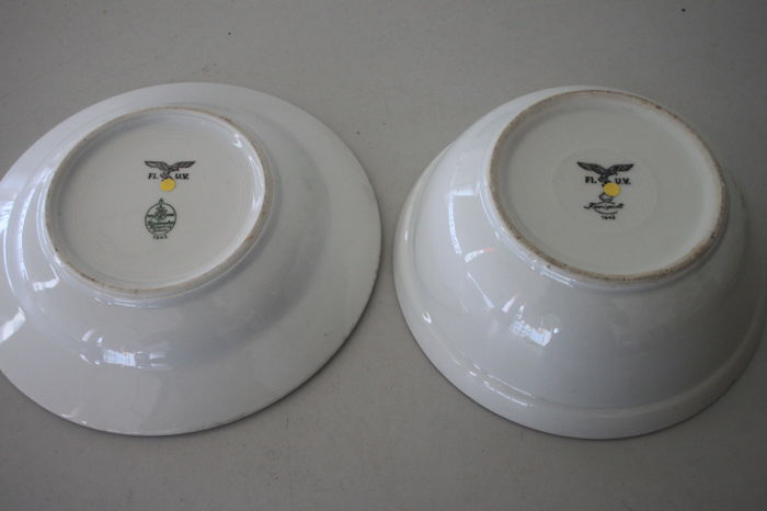 1942 Porcelain Plate and Bowl of the German Luftwaffe with