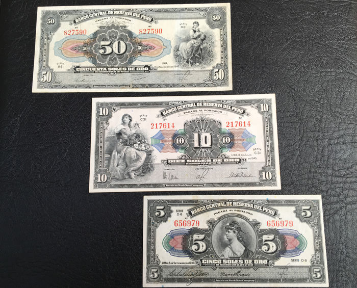 Pérou - 5, 10 and 50 Soles - 1939/1945/1946 - Pick 66, 67 and 68