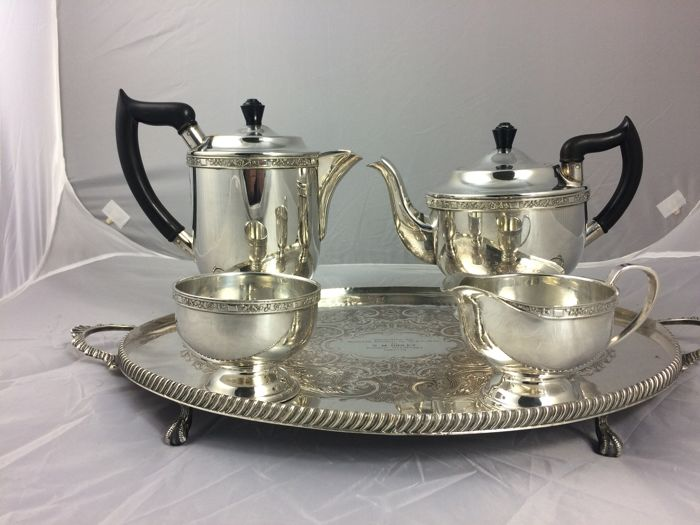 English silver plated  Coffee set & tray .