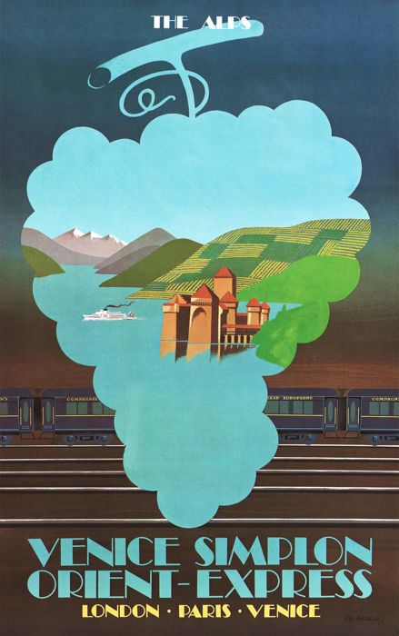 Pierre Fix-Masseau - Venice-Simplon Orient Express: the Alps - 1980