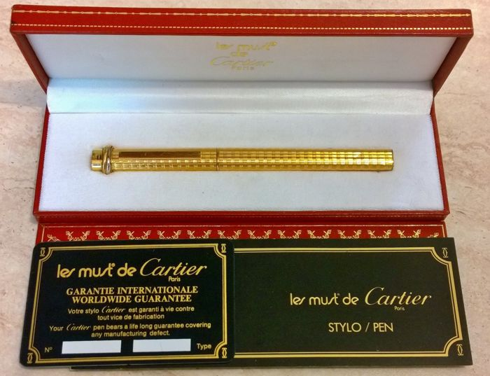 Cartier Paris beautiful 18 kt gold plated ballpoint pen in perfect condition