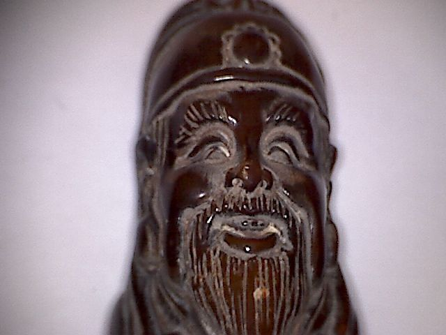 Ancient Chinese horn of wild highland's buffalo   statue of a wise - 63 x 28 mm - (1)