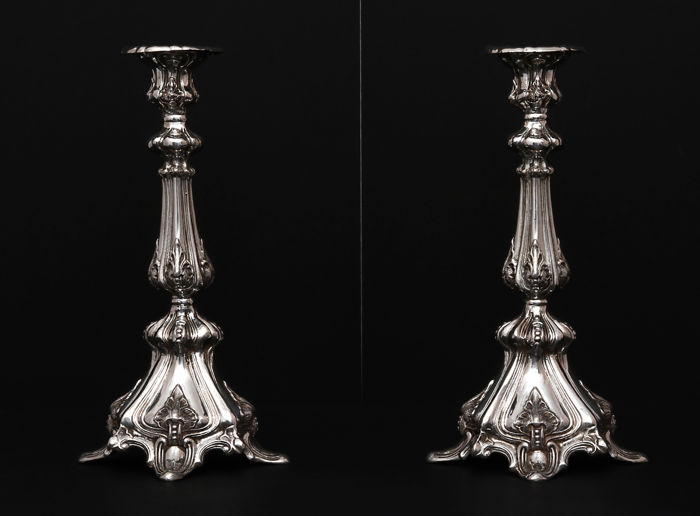 A Pair of silver column candle stick holders - Egypt 1916-1946
