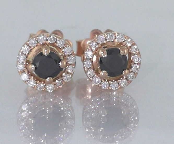 Earrings, set with black diamonds and brilliants ***No minimum price***