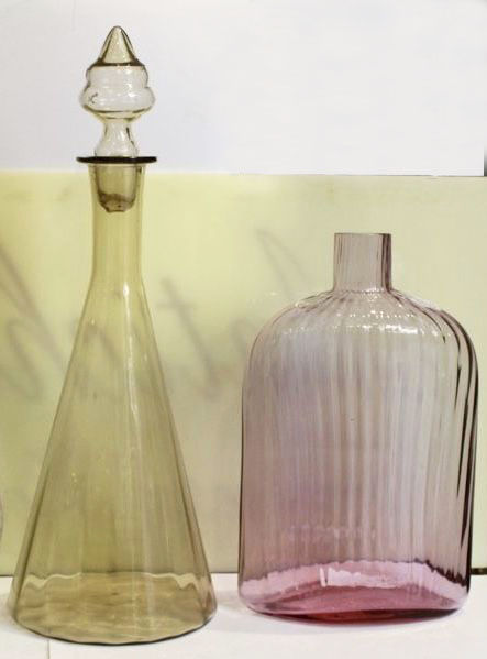Murano - Bottle + vase signed by Carlo Moretti