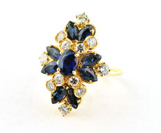 Exclusive Marquise shaped RING with Ceylon Sapphires (tot. 2.40-2.60ct) & Diamonds (tot. 1.00-1.20ct G/VVS-VS) set on 18k Hallmarked Yellow Gold