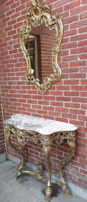 Console and mirror Louis XV style