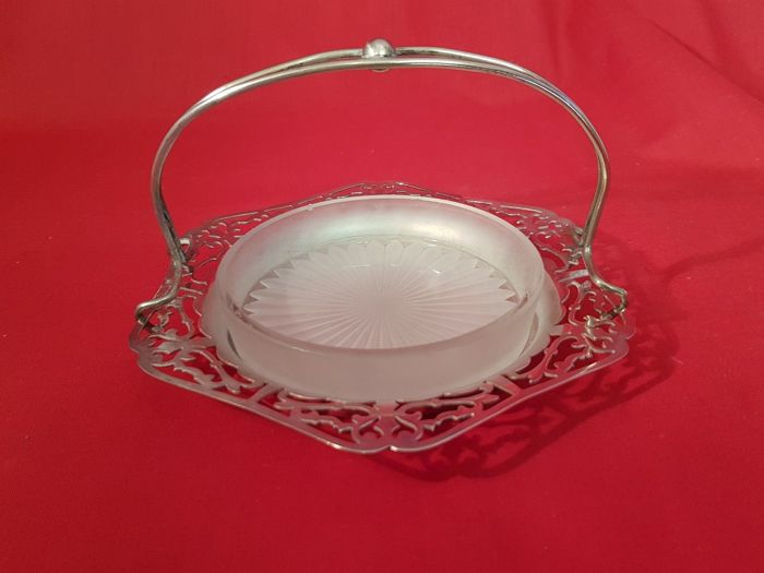 Silver plated serving bowl with decorated glass insert