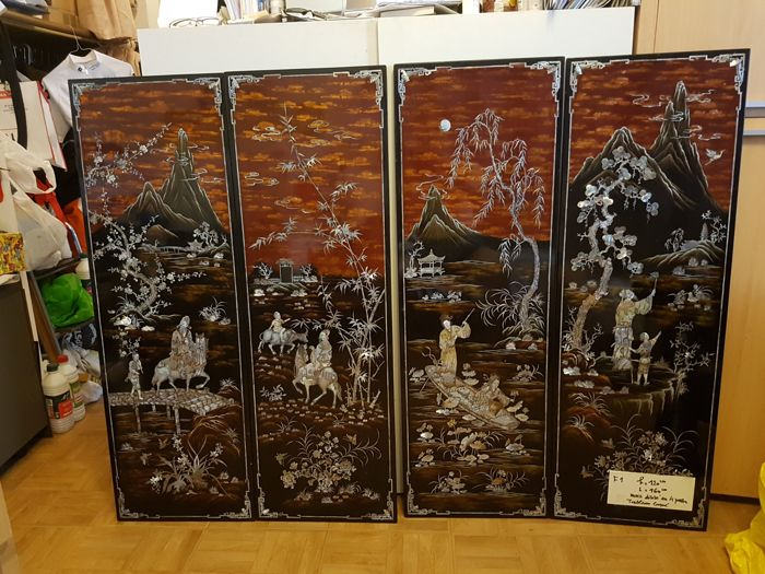 Lot of 4 large painted panels, lacquered, Vietnam - circa 1970