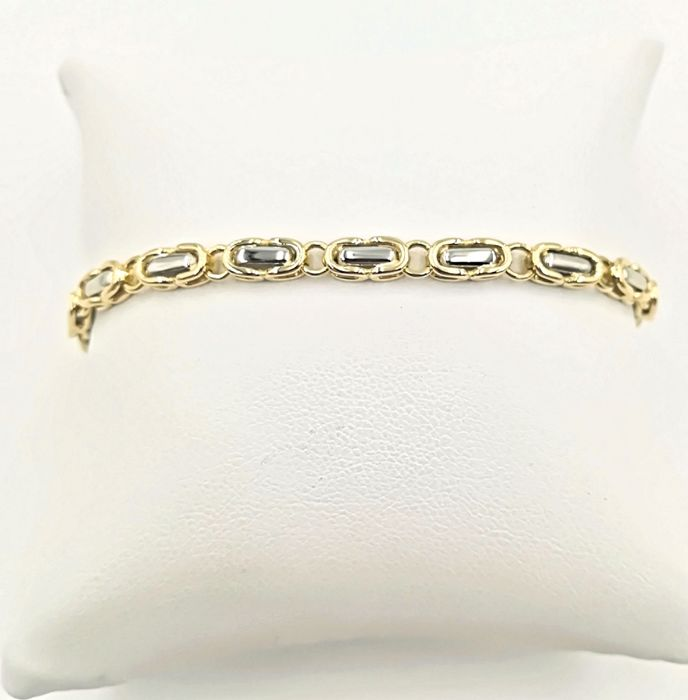 Bracelet in 18 kt yellow and white gold - length 19 cm weight 14 g