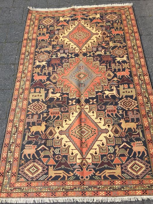 Kelim from Persia, handwoven with silk