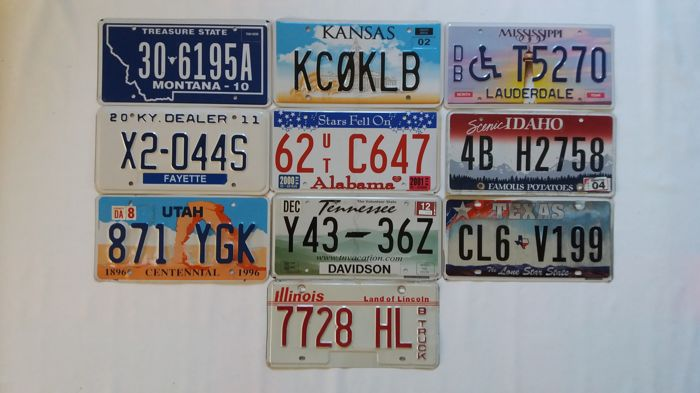 Plaques d'immatriculation - USA state license plates. - 2001-2012 (10 objets)