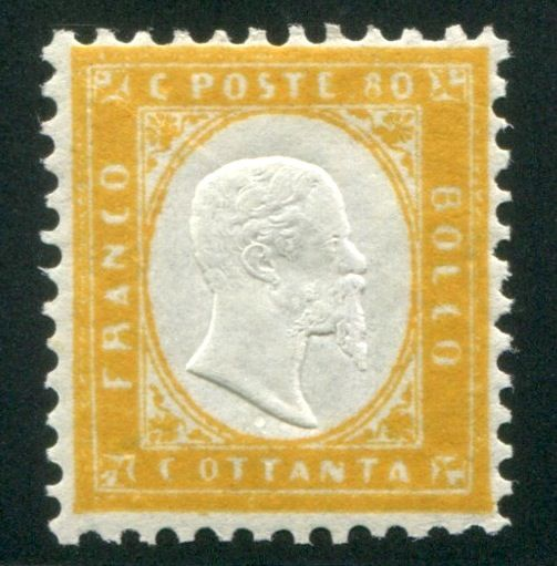 Italy Kingdom 1862 -  80 cent. giallo - Sassone N. 4