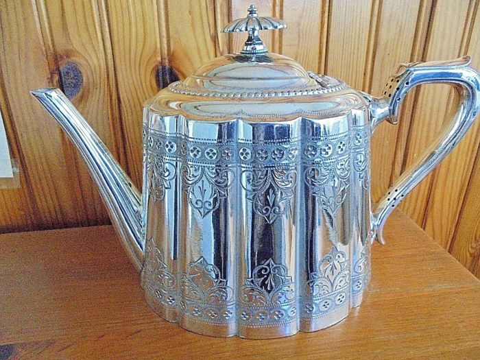 Antique silver plated decorated Teapot - by Mb&S