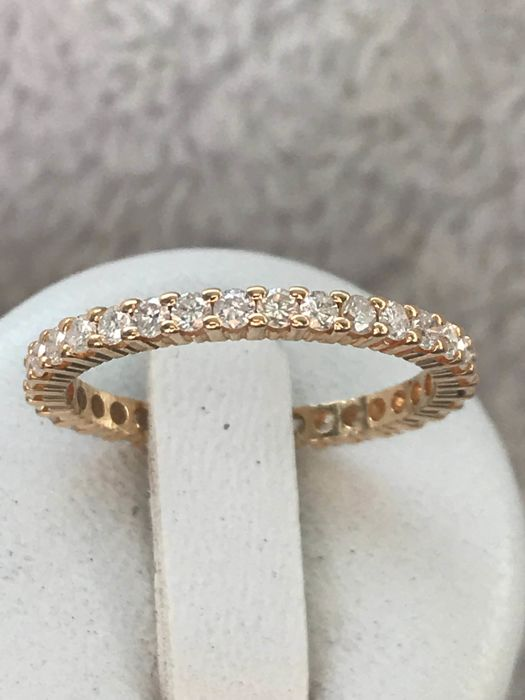 18 kt yellow gold American wedding ring with diamonds of 1.02 ct - size 56 / 17.94 mm