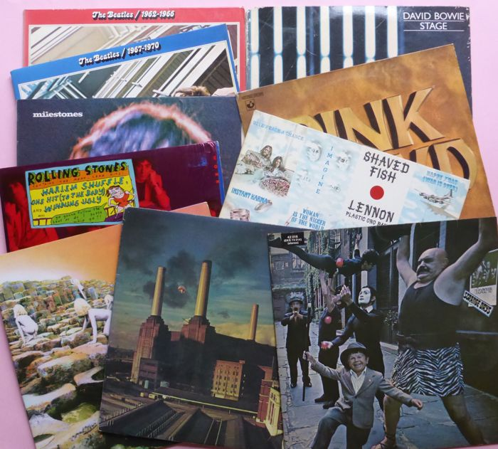 Great lot of 18 classic albums (22 lp's) total; by Beatles, Stones, Pink Floyd, David Bowie (blue vinyl), Led Zeppelin, John Lennon etc.
