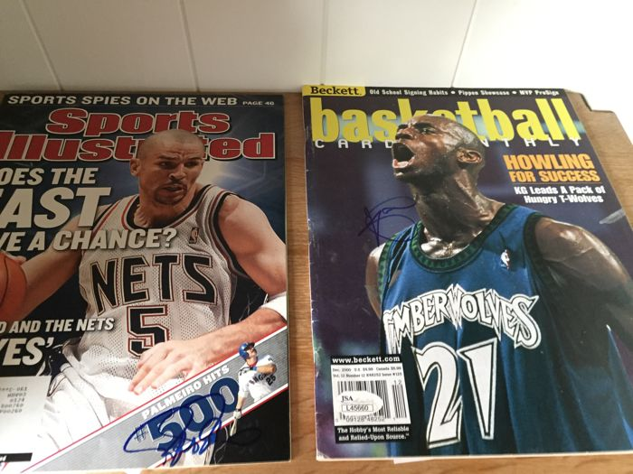 85321a8302d 2 signed magazines from to NBA legends: Jason kidd & Kevin Garnett ...