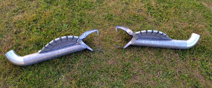 2 x gargoyles / Chimeric of roof in ZINC - Gothic Style VERY RARE