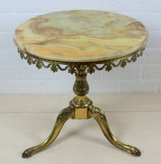 Vintage brass side table with onyx table top