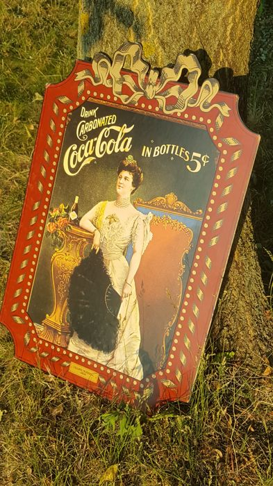 70/47cm - Coca Cola WOMAN - Beautiful LILLIAN RUSSELL - printed image - openwork - rarity .