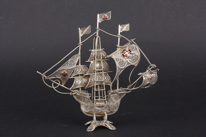 Filigree Silver - Large Portuguese Galleon - year ca. 1900