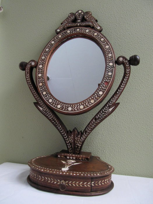 Antique inlaid wooden vanity mirror with two birds