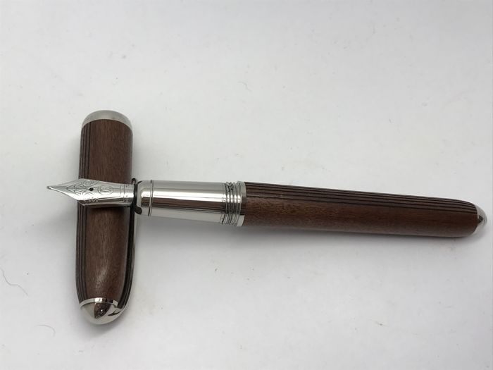 Cartier pen wood Transatlantique limited edition with box and papers & cartridges