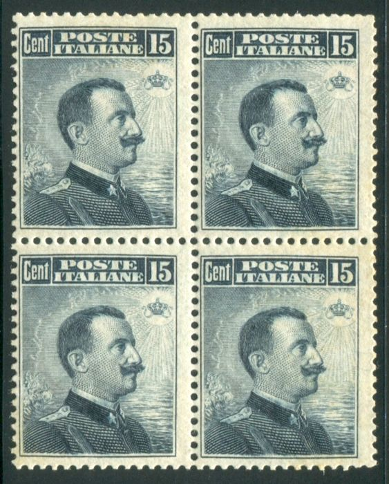 Italy Kingdom 1911 - 15 cent. grigio nero, Michetti quartina - Sassone N. 96