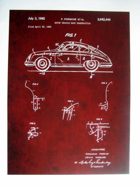 Decorative object - Poster/Affiche : Porsche 356 Patent  - 1960 (1 items)