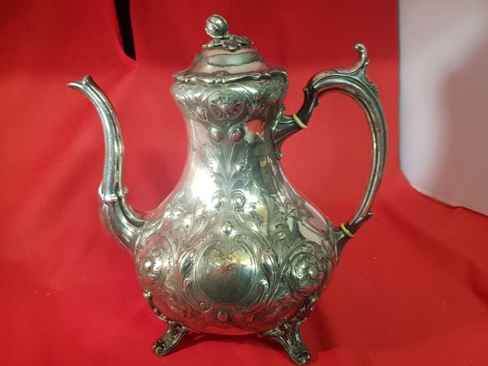 Antique silver plated Victorian Teapot, richly decorated - by Shaw & Fisher of Sheffield