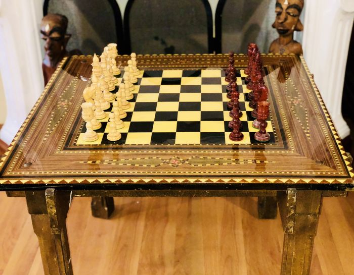 Antique Arabic chess table with squares of bone