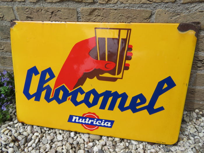 Chocomel - Enamel advertising sign - Langcat Bussum - circa 1950s/60s