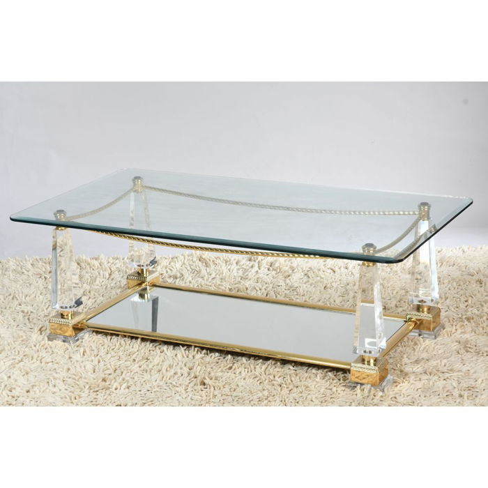 Charles Hollis Jones ( Attri.) Rectangular Coffee Table Made Of Lucite    Bevelled Glass
