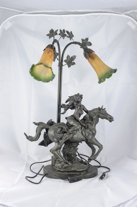 Lamp of horse and horsewoman. new