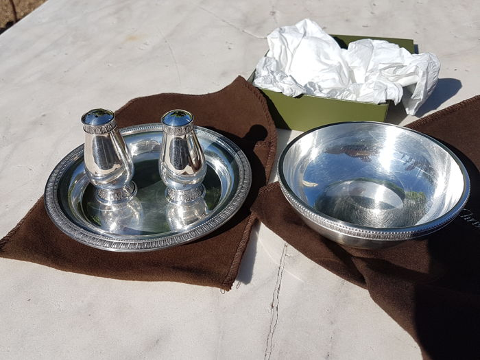 Antique and heavy table set, salt, pepper and other, 'Malmaison' model, Christofle