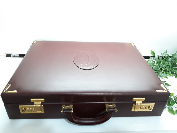 Cartier leather Briefcase Bordeaux