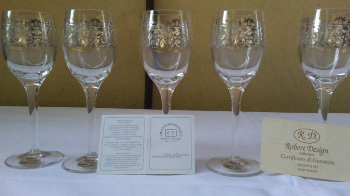 A set of 6 goblets in crystal and silver 925 - Robert Design collection - Italy - 1950-1999
