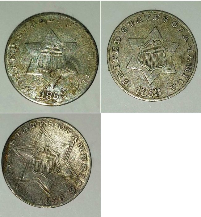 United States - 3 Cents 1852, 1853 and 1856 (3 pieces)