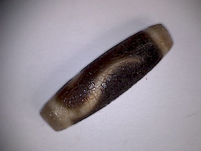 "Tibet or Nepal dyed agate ""snake skin"" bead with special design - 39,5 X 11,2 mm - (1)"