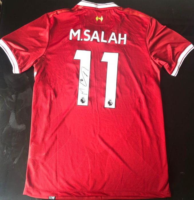 the latest afb0b ec2b6 Signed Mohamed Salah Liverpool 17/18 Home Shirt Proof - Catawiki