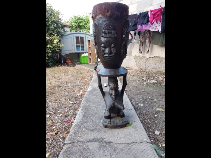 Vintage Djembe with African Carvings