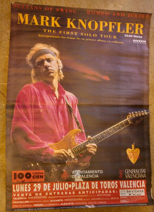 Original large poster Mark Knopfler - Dire Straits - Advertising promotion The first solo tour - Valencia  1996 - Rare