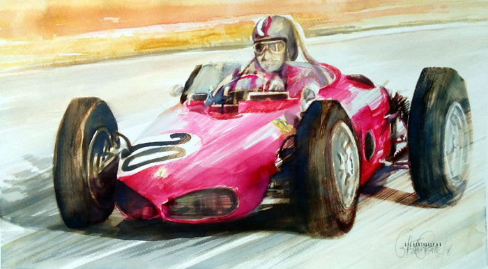 Omlijsting -  Ferrari 156 Original Watercolor.Gilberto Gaspar - 2018 (1 items)