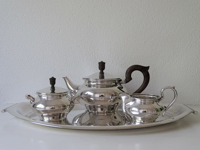 Silver plated tea set with serving tray - Keltum The Netherlands - The 70s