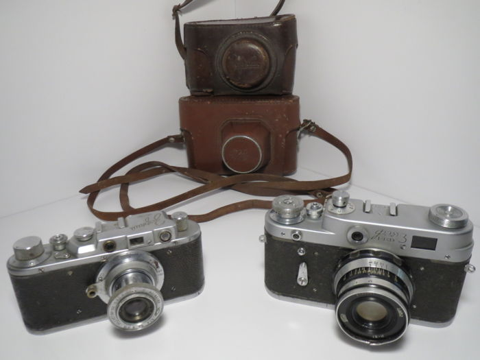 """Zorki"".  Fully operable!! Early. The USSR KMZ  1949. + A rare model of ""FED-3"" ""Humpbacked."""