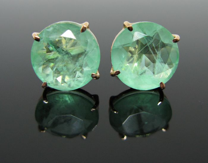 Pink gold 18 kt, big earrings, set with 2 emeralds doublet (emeralds/quartz) ct 10,20 tot. Weight 4 gr. No reserve price