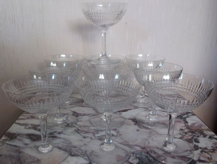 Baccarat - 10 champagne glasses - NANCY model