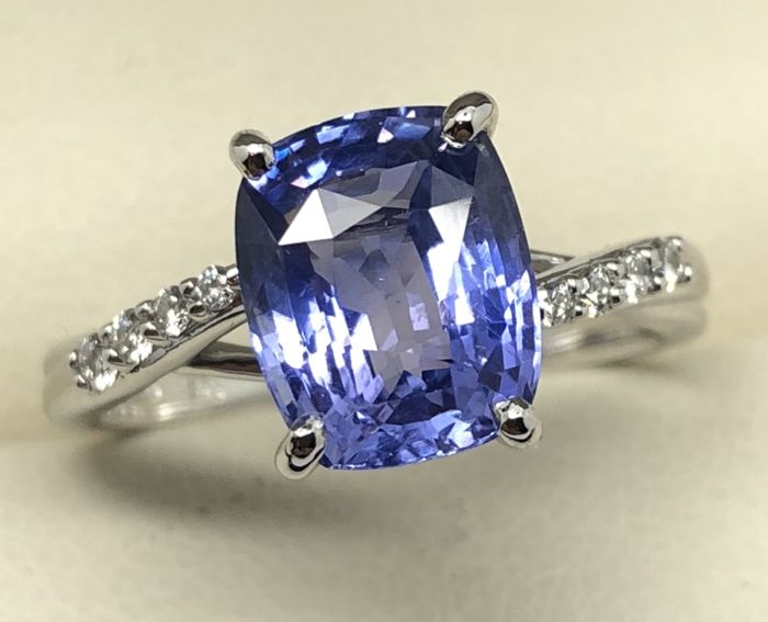 Ring Unheated Sapphire Diamonds 3.24 ct