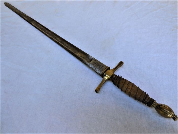 Large Antique Hunting Sword/Knife with Brass Fitting