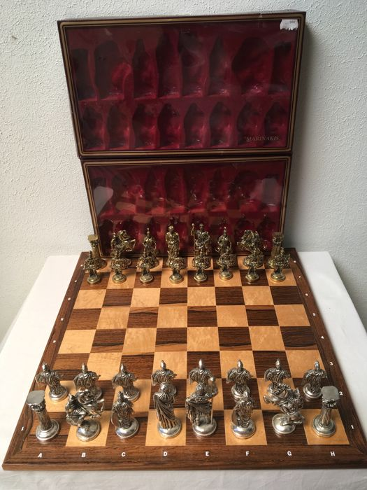 Beautiful large, heavy metal chess pieces - silver and gold coloured